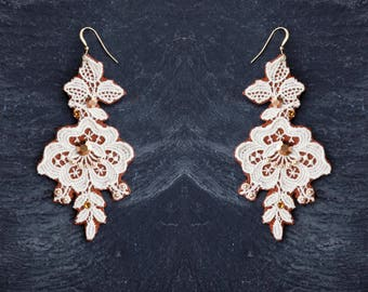 flower rose jewelry unique wedding jewelry floral lace white bridal earrings lace earrings tatted jewelry boho crystal earrings tatted lace