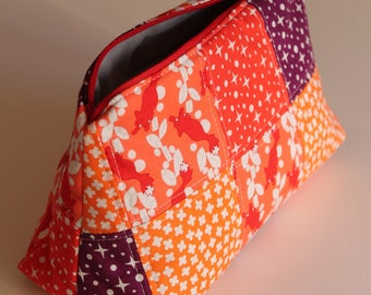 Big cosmetic fabric pouch - handmade - unique piece - orange red purple white - flowers and foxes