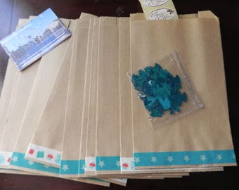 Christmas table decoration Kit: 10 bags decorated + stickers + confetti Blue Angels