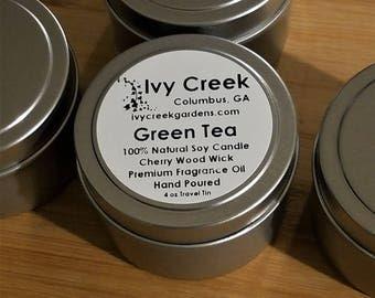 Green Tea Wood Wick Candle, Green TeaCandle, Wood Wick Candle, Metal Tin Candle, Crackle Candle, Gifts for Her, Green Tea, Gift