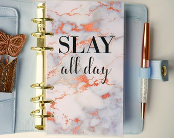 Slay All Day Rose Gold And Marble Personal, A5, A6, B6 & Pocket Size Planner Dashboards