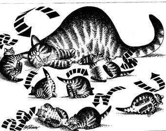 Vintage Cat Print Kliban Cat Print Original Catcalendar Funny Cat Print Kliban Calendar Cats Cartoon Cat Art Catcalendar Print Rolling Cats
