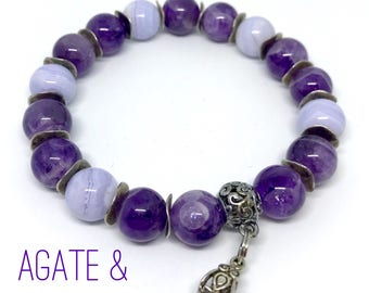 Purple natural Agate&Amethyst beaded bracelet