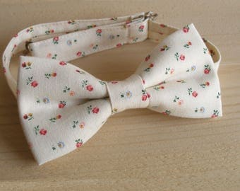 mens floral bow tie,rose print bow tie,ivory floral bow tie,weddding bow tie