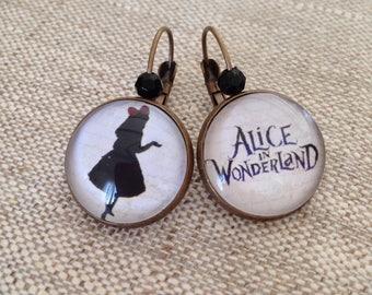 Cabochon earrings - Stud Earrings - Alice in Wonderland - retro country