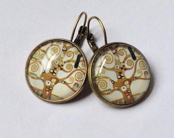 Earrings cabochon glass - Gustav Klimt - tree of life