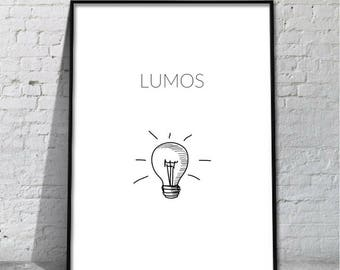 Lumos | Art Print | Harry Potter Print | A4 Unframed - Free Shipping within Australia