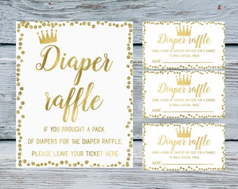 White and gold confetti Diaper Raffle Ticket and Diaper Raffle Sign Prince or princess Polka Dots Baby Diaper Raffle diaper sign tickets