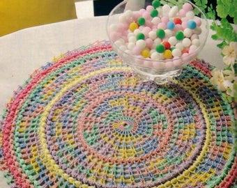 27. Vintage multicolor crochet placemat UK pattern in pdf