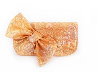 Kimono Obi Bow Clutch | Damask in Orange and Gold | Upcycled Japanese Vintage Textiles Purse