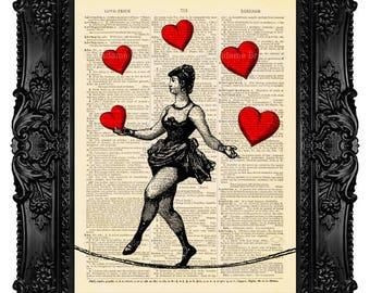 Dictionary Art Print Love Art Print Book Print Love Poster Anniversary gift Valentine Gift Retro Art Gift For Husband Circus Acrobat 361