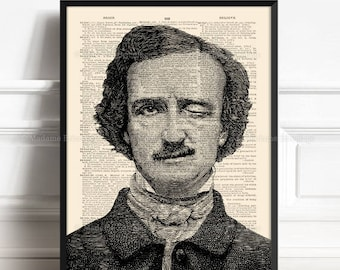 Funny Winking Man, Edgar Allan Poe Gift, Edgar Poe Art Print, Wife Birthday gift, Mystery Wall Art, Wife Xmas Gift, Literary Gift Poster 319