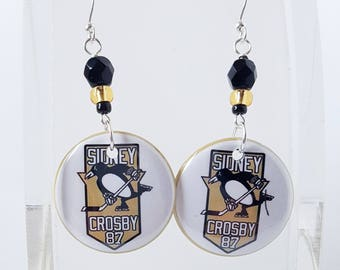 Pittsburgh Penguins Sydney Crosby Button Earrings