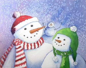 Snowman Photobomb Holiday Card