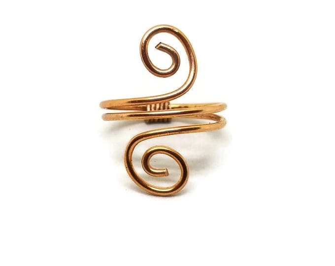 Double Spiral Copper Ring, Solid Copper Ring, Unique Birthday Gift, Gift for Her, Stocking Stuffer, Women's Copper Ring, Spiral Ring