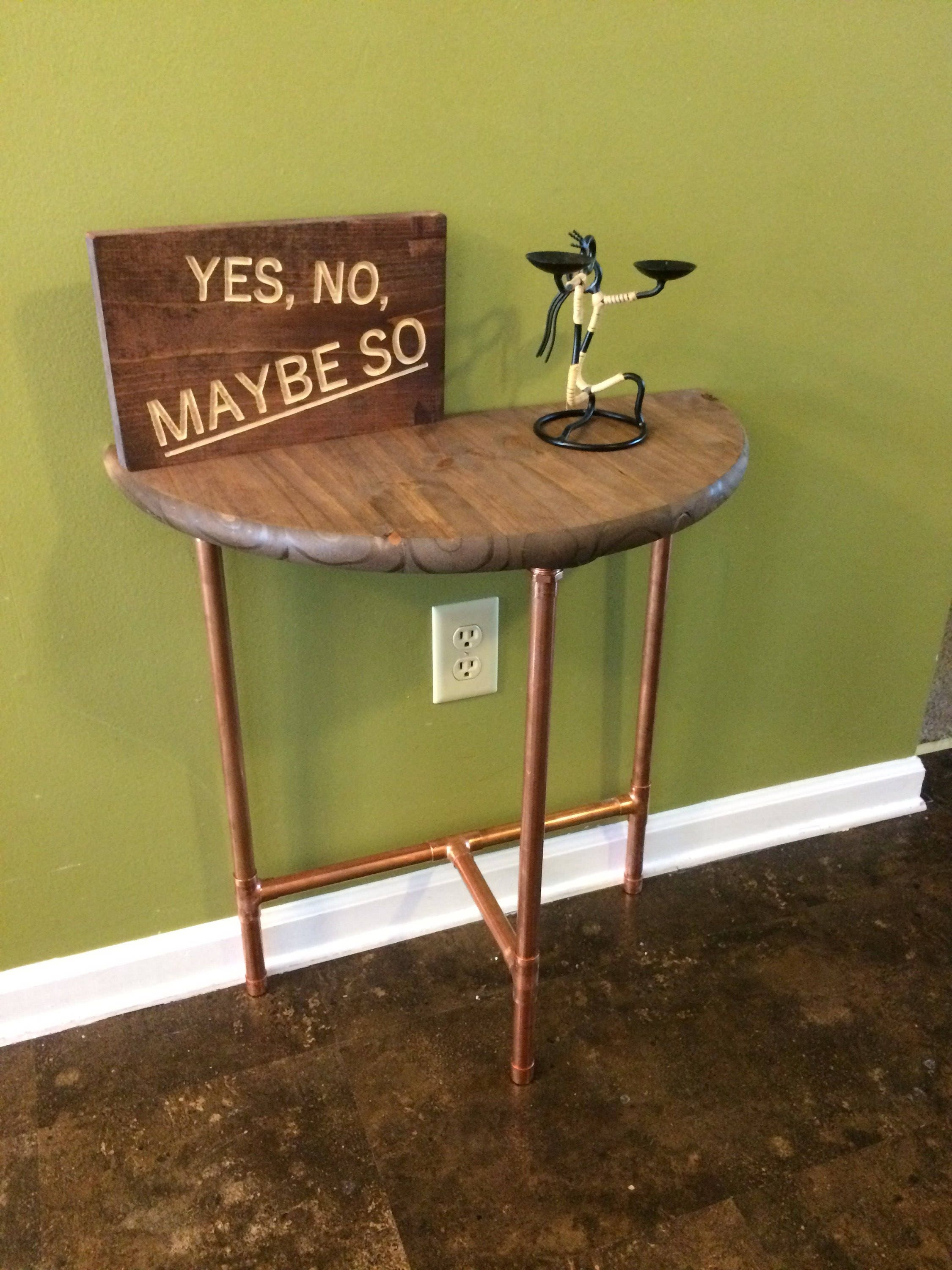 Modern Copper Sofa Table Entryway Console Industrial Pick Your Own Stain Height