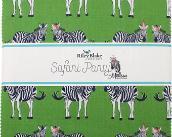 "Safari Party 10"" Stacker (Layer Cake) by Melissa Mortenson for Riley Blake (42 10"" Squares) - 10-6500-42 quilting precut green zebra"