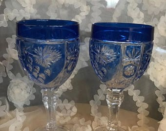 25% OFF SALE Vintage Czech Crystal Beautifly Etched Wine Glasses with Blue Bowl and Clear Glass Pedastal