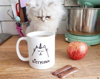 Hand painted hand drawn cat unicorn kittycorn coffee tea mug gift cat lover