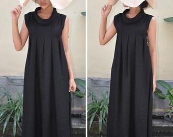 Linen Maxi Dress, Black Linen Dress, Maternity Dress, Maxi Summer Dress, Plus Size Dress. Gift For Her
