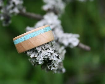 Wood ring, Wooden Ring  - maple wood with torquise inlay
