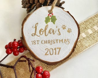 Custom dog ornament memorial ornament Rustic Pet Ornament Paw First christmas personalized Xmas decorations Pet Loss dog lover gift