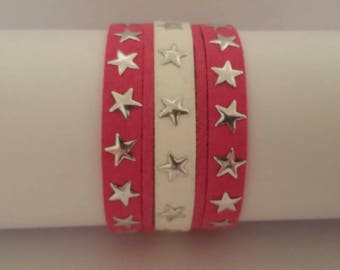 White and pink suede Cuff Bracelet.