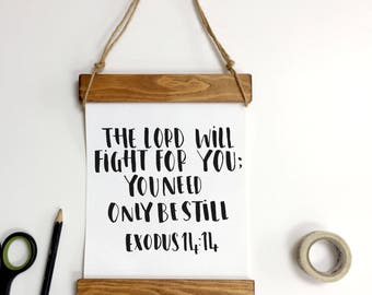 The Lord Will Fight For You Mini Wall Banner - Christian Gifts - Exodus 14:14 - Faith Gift - Wedding Gift - Christening Gift - Hand Lettered
