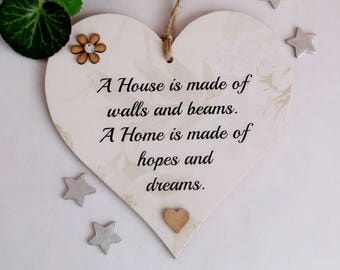 New Home wooden gift heart - A house is made of walls and beams