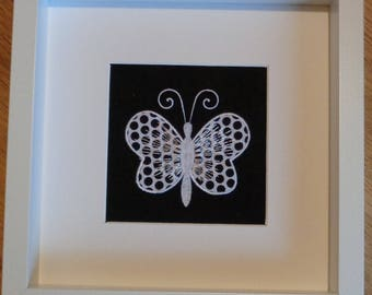 Appliqued Butterfly Framed Picture