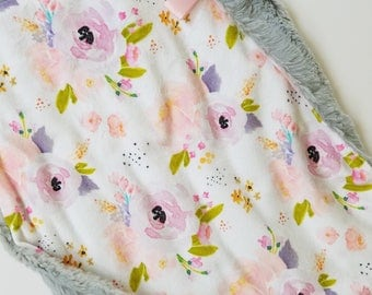 Floral Baby Lovey, Baby Girl Lovey, minky blanket, minky lovey, Floral Baby Blanket, Modern Baby Blanket