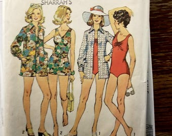 Vintage 1974 Simplicity Stretch Knit sz 12 (bust 34) swimsuit and cover up pattern 6356