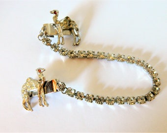 "Vintage Camel Dress Sweater Guard Clips Rhinestone 7.5"", Retro Jewelry, Camel Jewelry, Mid Century, Silver Tone, Costume Jewelry"
