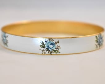 "Vintage Enamel Blue Rose Bangle Bracelet Brass Marked Japan Mid Century Jewelry 8"" Circumference"