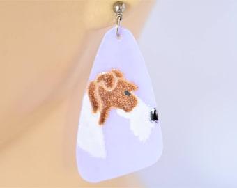 "Schnauzer Dog Stud Earrings Dangle Drop Molded Glass Lilac Retro Pet Boho 80s Costume Jewelry 2.5"""