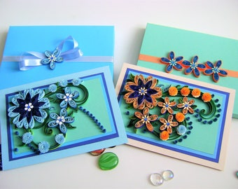 Two Quilling Card,Sale,Two for the price of one,Anniversary Cards,Greeting cards,Quilling Flowers,Quilled card,All Ocassion Card,3d postcard