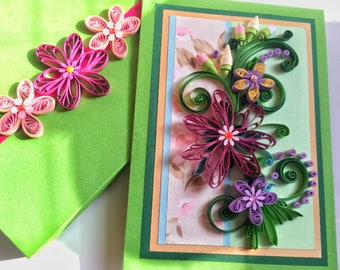 Quilling cards,Beautiful Girlfriend,Mom,Sister Birthday card,Anniversary Quilling cards,Quilled Mother's Day Card,Handmade quilling birthday