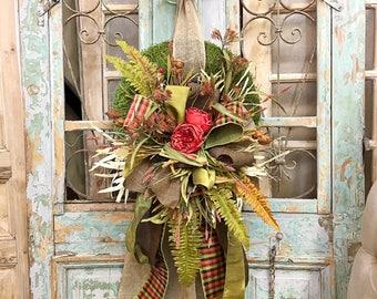 Fall Wreath, Moss Wreath, Door Decor, Wreath, Outdoor Wreath