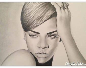graphite pencil portrait of Rihanna