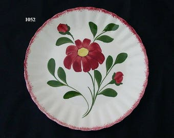 "Blue Ridge RED NOCTURNE 9.25"" Plate Southern Potteries Hand Painted Colonial Red Flowers and Edge (B02) 1052"