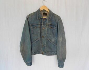 vintage distressed wrangler trucker jacket made in usa
