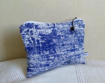 Pocket pouch canvas blue Indigo and white