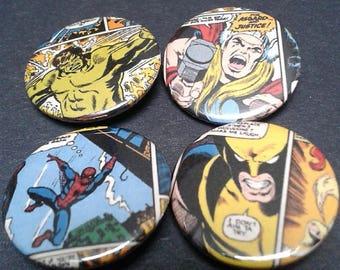 Marvel superhero badges - 25mm - Comic - Hero - Thor - Wolverine - Spiderman - Hulk - Comic panel - Pin back button