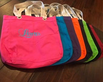 Tote Bag with Embroidered Name or Monogram