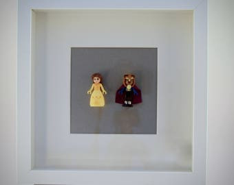 Beauty and the Beast mini Figures framed picture 25 by 25 cm