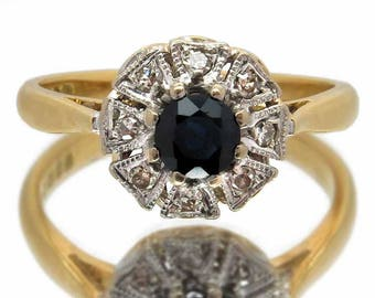 Vintage Sapphire & Diamond Cluster Ring | Ideal For Engagement / Anniversary Ring Or Gift | Blue 0.40 Carat Sapphire With Eight Diamonds