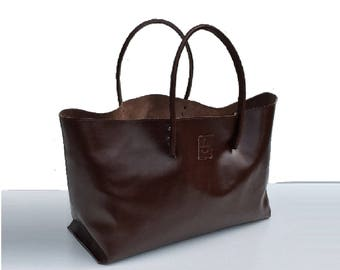 XXL Leather Shopper Large leather case Einkaufsshopper for wholesale brown handmade