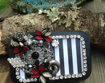 Altered Altoid Tin, Vintage Jeweled Tin, Trinket Box, Gift Card Holder, Free Shipping