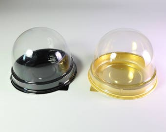 50/100 Mini Bite Size Clear Dome Black Gold Base Tart, Macaroon, Cupcake, Muffin Pastry Container Pod