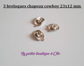 Set of 3 Silver 23 mm x 13 mm metal cowboy hat charms
